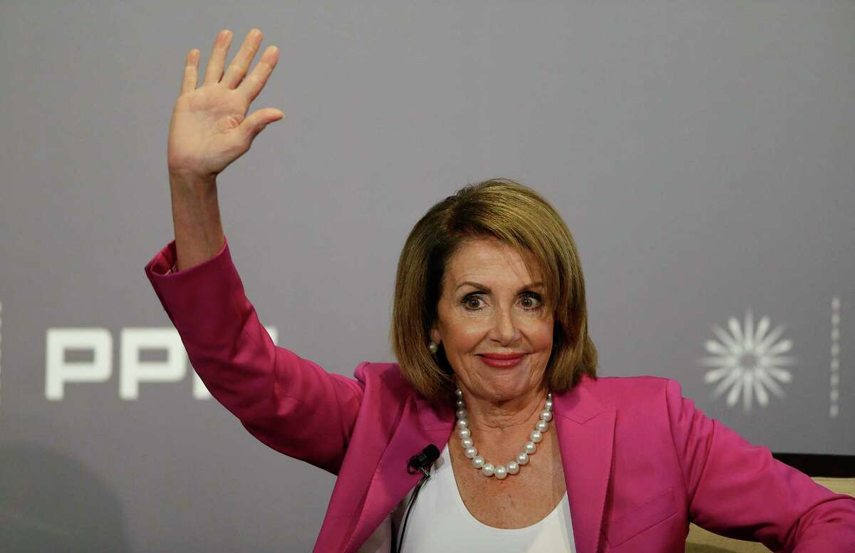 House Minority Leader Nancy Pelosi waves to the audience before speaking at the Public Policy Institute of California Wednesday, Aug. 22, 2018, in San Francisco. (AP Photo/Eric Risberg)