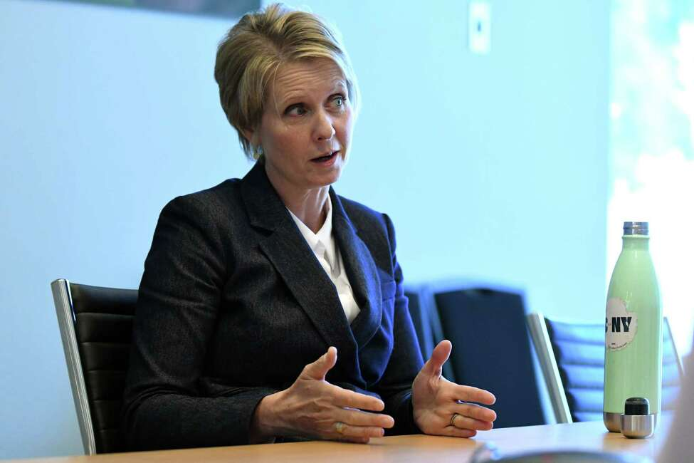Democratic gubernatorial primary candidate Cynthia Nixon speaks to the Times Union editorial board on Thursday, Aug. 23, 2018, at Times Union in Colonie N.Y. (Will Waldron/Times Union)
