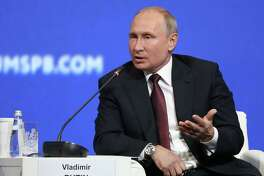 Vladimir Putin, Russia's president, speaks at the St. Petersburg International Economic Forum in St. Petersburg, Russia, on May 25.