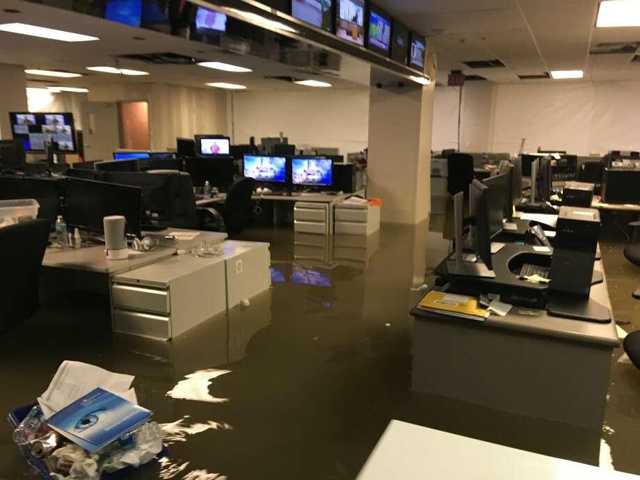 KHOU's building on Allen Parkway flooded during Hurricane Harvey. Photo: KHOU