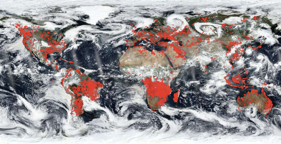 This image from Aug. 24, 2018 using NASA's Worldview application, shows a world on fire. Photo: NASA