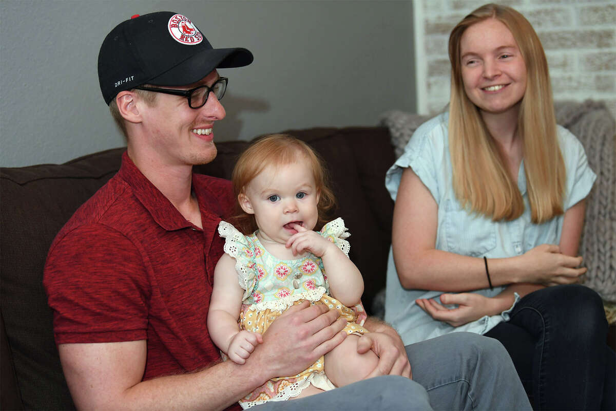 Trae and Veronica Pellegrin talk about the birth of Sawyer, pictured, at their Groves home. Sawyer was born during Tropical Storm Harvey. Photo taken Thursday, 8/16/18