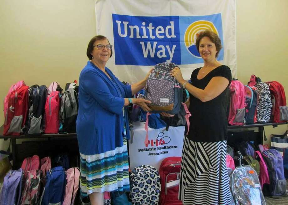Dr. Andrea Hagani, CEO of Pediatric Healthcare Associates, presented the United Way of Coastal Fairfield County with a wealth of donated school supplies to support the needs of children in the local communities. Donations of backpacks, notebooks, pencils/pens, and lots of other back-to-school necessities were received from patients, staff, doctors and the Hitachi Capital America Corporation in Norwalk. Photo: Contributed Photo