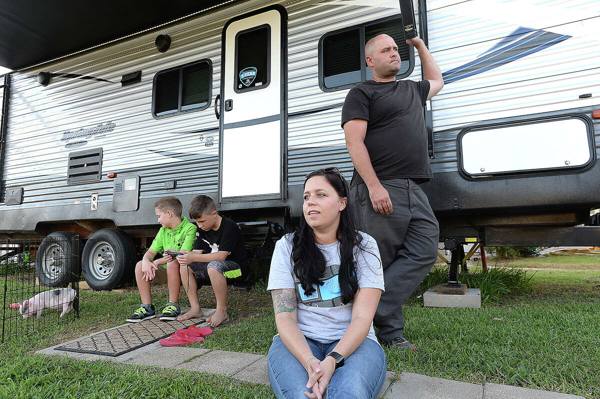 Amanda Skinner reflects on the day that she, her children and her partner Ray Cooper were rescued from their flooded home in Groves. Keith Bass, a Bottoms Up Jeeper, coordinated their rescue, emlisting the aid of boater Travis Cloudy when the water surrounding their home became too deep for him to travel through in his Jeep. Friday, August 17, 2018 Kim Brent/The Enterprise