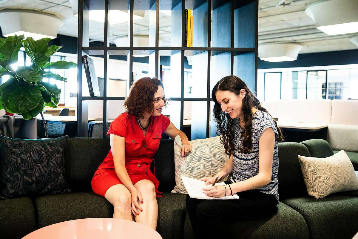 Tzvia Shelef, executive director of the Silicon Valley Jewish Film Festival and a mentor at Project Mentor, left, coaches mentee Sara Petersen on an upcoming interview at Canopy in San Francisco, Calif. on Wednesday, Aug. 15, 2018.