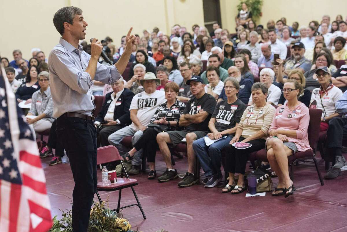 Texas Democratic Senate candidate Beto O'Rourke, D-El Paso, speaks during a campaign stop at St. Louis Baptist Church in Tyler, Texas on Monday Aug. 13, 2018. The current U.S. Rep is running for U.S. Senate against Ted Cruz. More than 600 people attended the campaign stop. (Sarah A. Miller/Tyler Morning Telegraph via AP)
