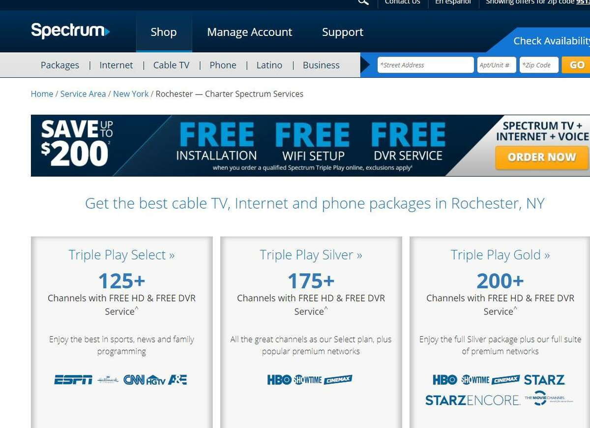 A Charter Communications website on Friday, Aug. 24, 2018, touting broadband, TV and voice services in the Rochester, N.Y. region.