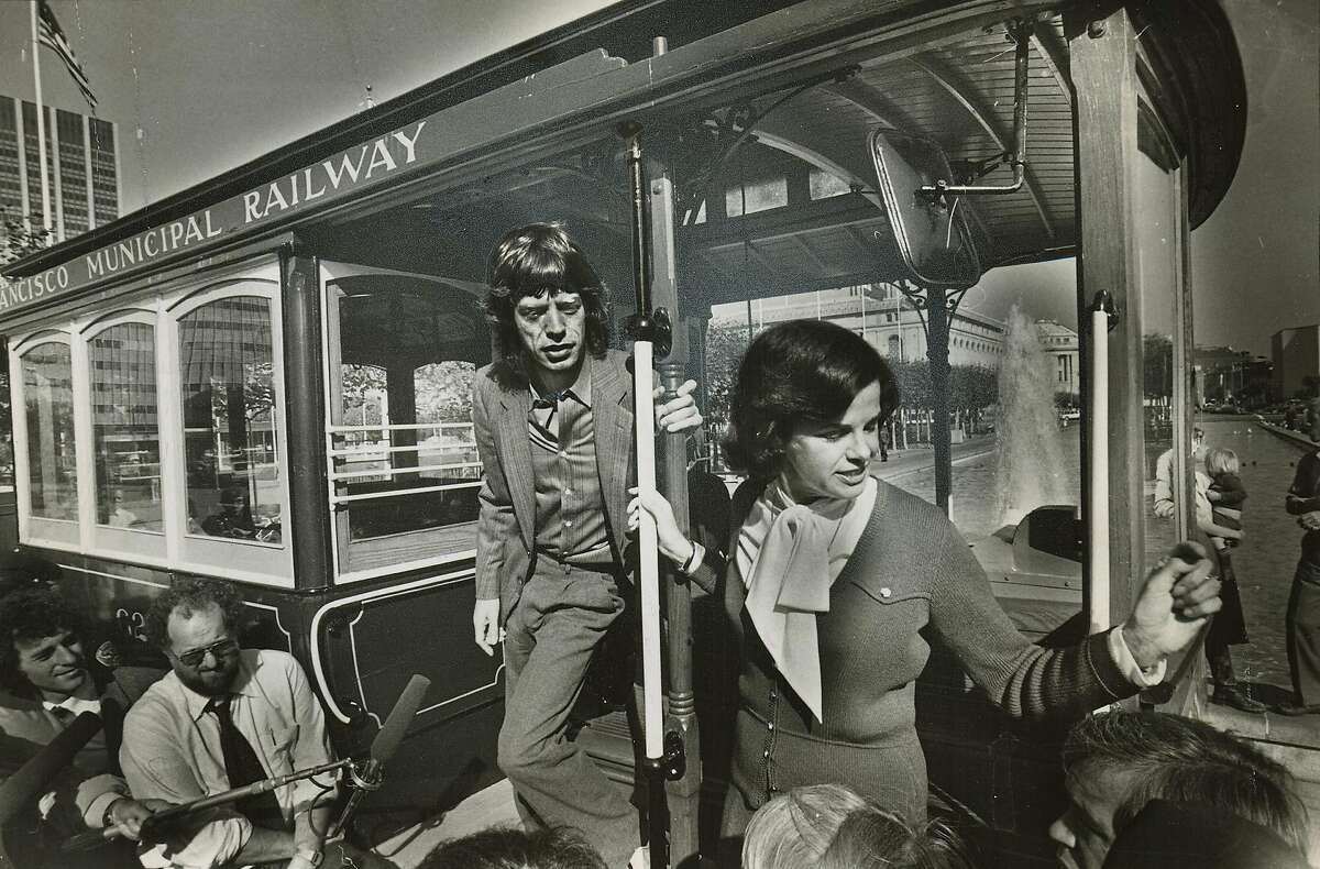 Mayor Feinstein and Mick Jagger on a cable car in San Francisco for Save The Cable Cars Promo in 1981. Steve Ringman/The Chronicle