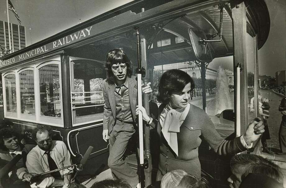 Mayor Feinstein and Mick Jagger on a cable car in San Francisco for Save The Cable Cars Promo in 1981.  Steve Ringman/The Chronicle Photo: Steve Ringman / The Chronicle 1981