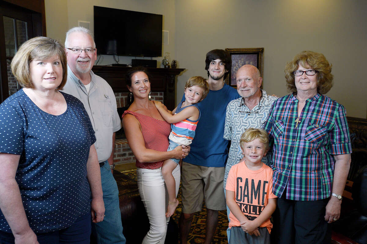 From left: Pam and Alan Thornton, Joanna Edgeworth and her children Ramsey and Beaux, Tristan Chavez and Jerry and Joann Davis were among the 21 people staying at the Davis home during Tropical Storm Harvey. The Thorntons and another family were strangers before Joanna and her husband, Rick, brought them to her parents' house. ?