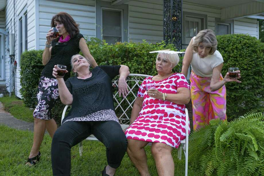 "From left, Cheryl Campbell as Jinx Jenkins, Lisa Schofield as Marlafaye Mosely, Martha Davis as Dot Haigler and Carolyn Wong as Randa Covington in Stage Right's season opener ""The Savannah Sipping Society"" which opens at the Crighton Theatre on Sept. 7. Photo: Photo By Michael Pittman / Michael Pittman all rights reserved"