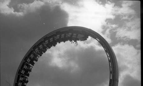 Upside-down riders on one of the roller-coaster rides on March 14, 1978. Photo: Terry Schmitt / The Chronicle 1978