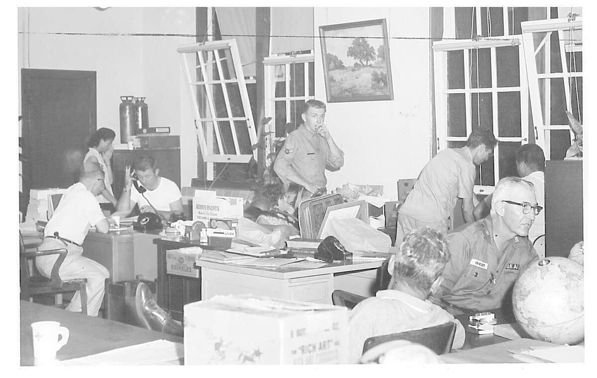 A communication center in the Woodrow Wilson Junior High building during Hurricane Carla. Photo taken September 1961 Enterprise archive photo