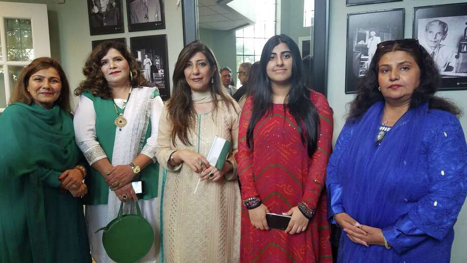 Pictured from right to left are Zartasha Shah,Ms. Farooqui,The Consulate General of Pakistan Mrs. Aisha Farooqui,Dr. Naveeda Ghazanfer andFarzana Salman at a flag-hoisting ceremony on Aug. 14 at the Consulate General of Pakistan in Houston. Shah, of Montgomery County, curated an exhibit in the month of August at the Consulate General of Pakistan in Houston. Photo: Courtesy Photo