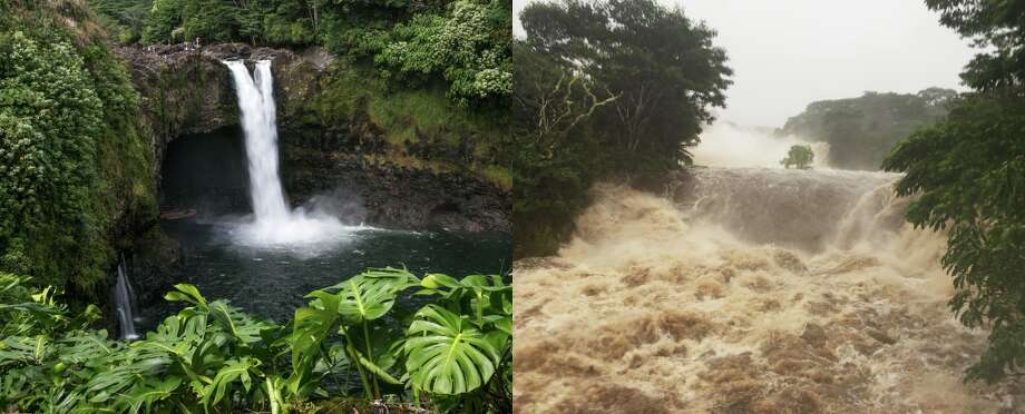 Images of Rainbow Falls on Hawaii's Wailuku River taken before and after Hurricane Lane began barreling toward the islands. Photo: Getty Images/AP Images