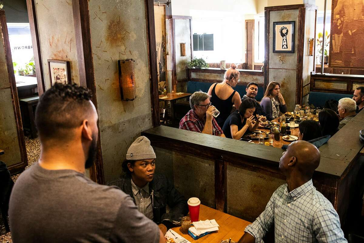 An interior view of Farmer Brown pictured during lunch service in San Francisco, Calif. on Wednesday, Aug. 22, 2018.