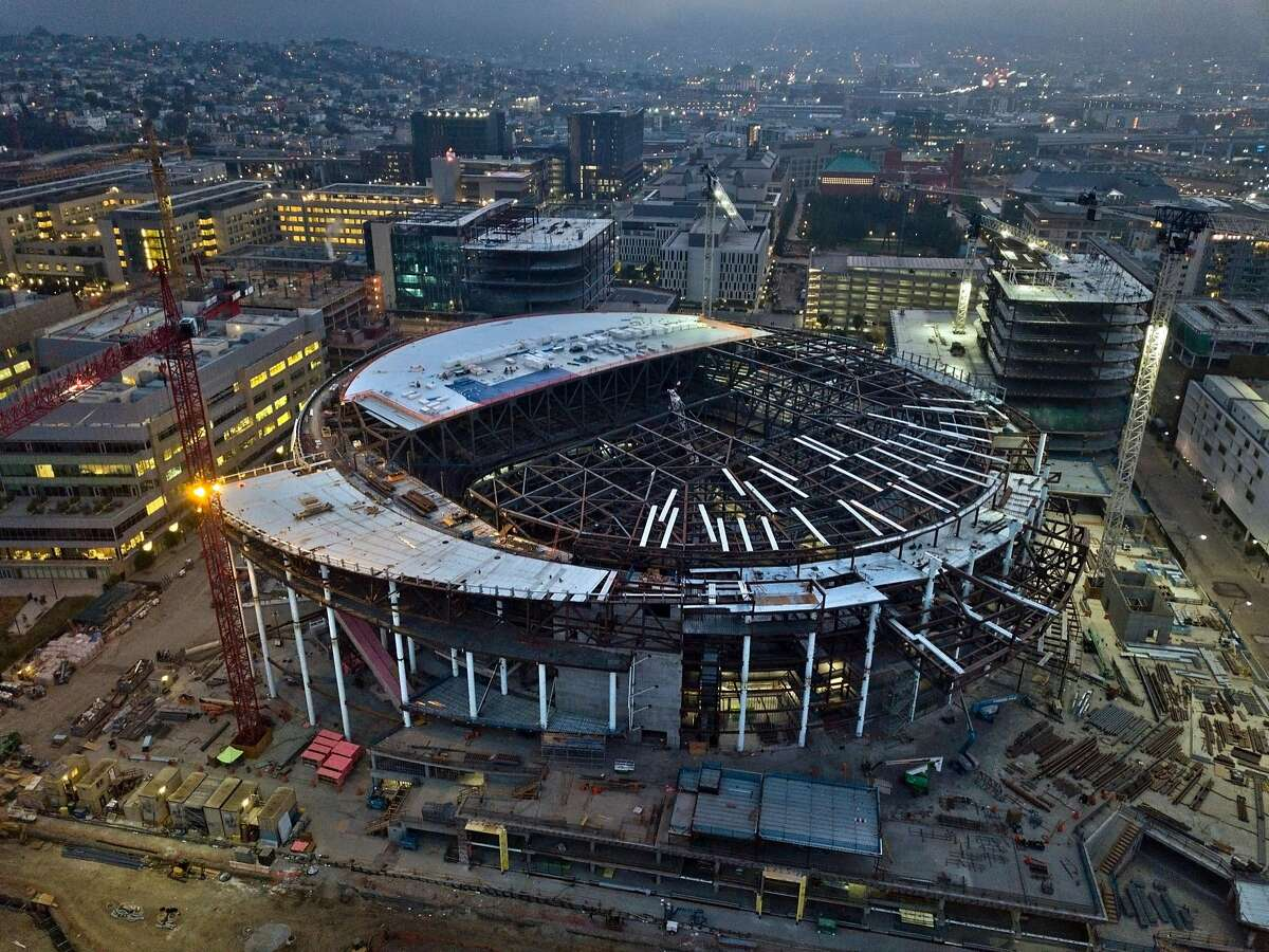 An aerial view of the Chase Center arena, the new home of the Golden State Warriors, under construction in San Francisco, Calif., on Sunday, August 19, 2018.