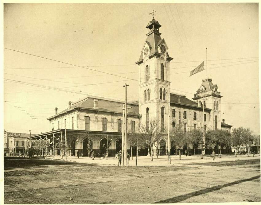 Houston's first city hall: Built in 1842 at Old Market Square, it burned down 30 years later. Houston's current City Hall was opened in December 1939.