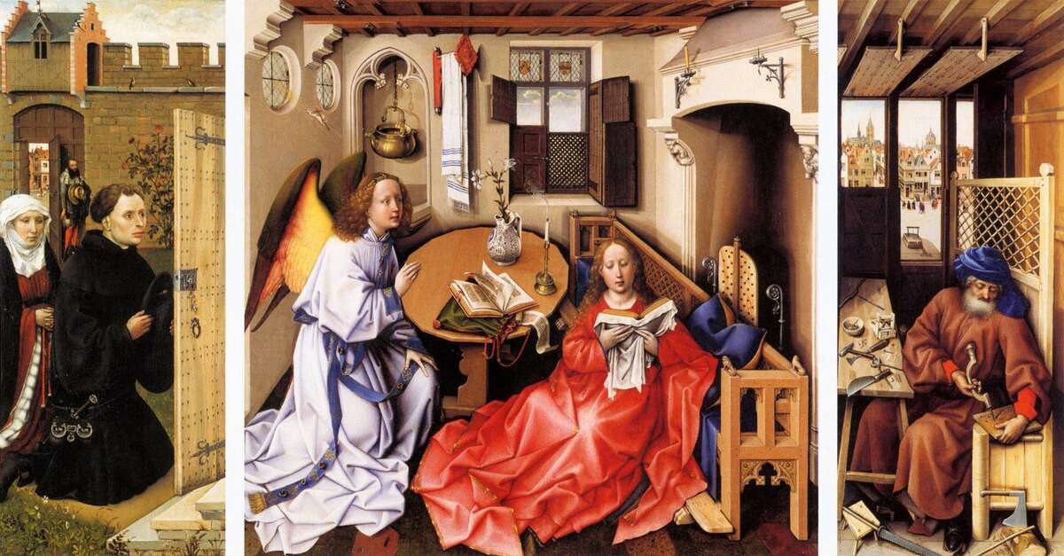 """The Merode Altarpiece is the Anunciation triptych of Robert Campin, believed by many to be the legendary """"Master of Flemalle"""". It dates to between 1425 and 1428."""