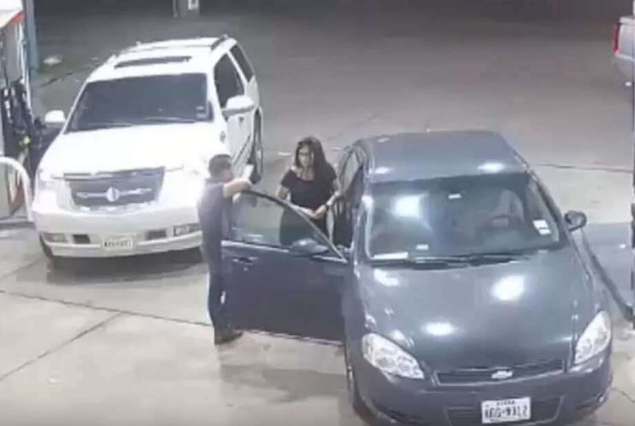PHOTOS: See how the shakedown went down ... Houston Police say a man was robbed at a gas station Sunday, July 28, 2018, after he accepted a free ride from four women he met at a club. When they stopped for gas, the victim exited the car to chat with one of the women. There, he was approached from behind and put in a headlock by a male suspect while one of the women took his cash. Photo: Houston Police