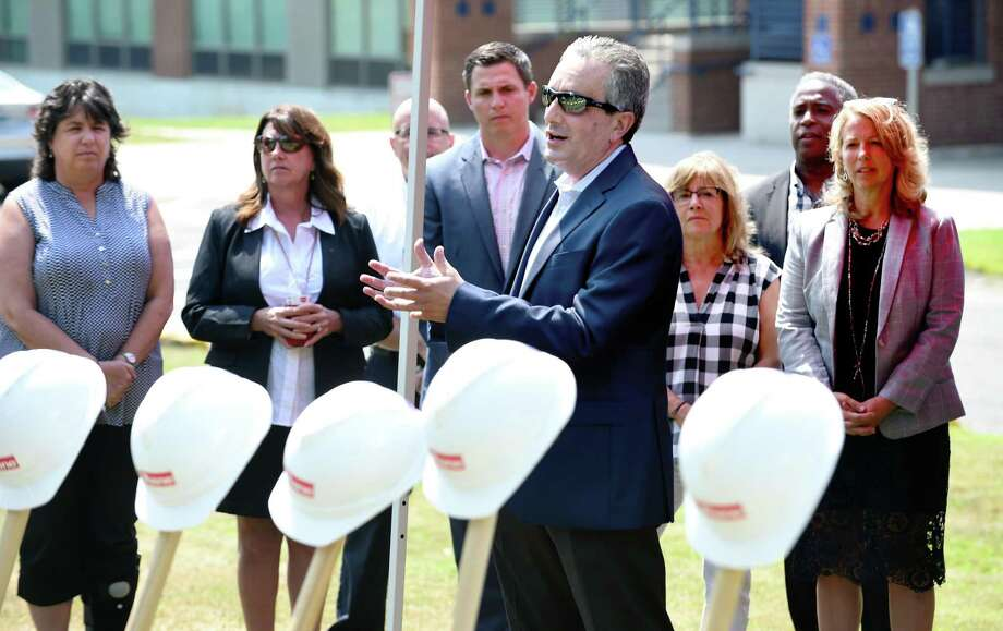 West Haven Superintendent of Schools Neil Cavallaro speaks at the groundbreaking ceremony for the new West Haven High School near the entrance to the old school on Tuesday August 22, 2017 in West Haven, Conn. Photo: Arnold Gold / Hearst Connecticut Media / New Haven Register