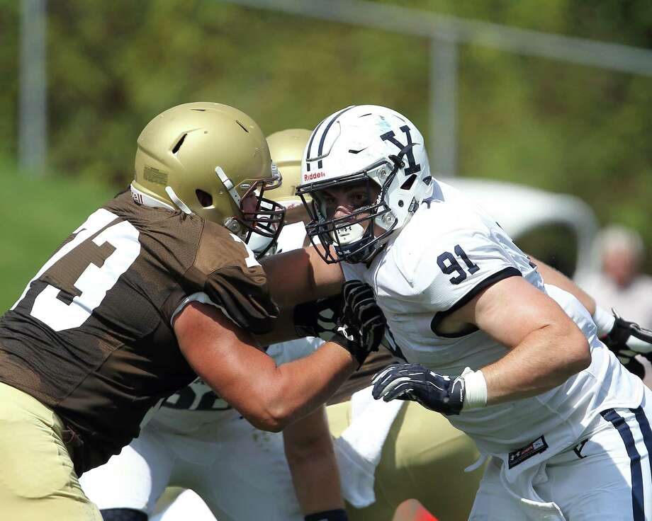 Nicholas Crowle (91), a fifth-year senior defensive tackle, has been voted the new captain of the Yale football team. Photo: Yale Athletics