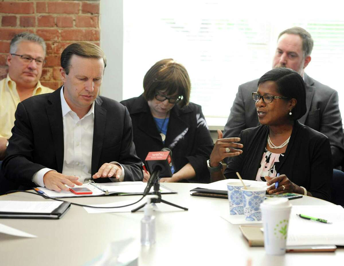 U.S. Senator Chris Murphy, D-Conn., and Miriam Delphin-Rittmon, Department of Mental Health & Addiction Services commissioner, held a roundtable discussion at the Kinsella Treatment Center in Bridgeport on Friday. The purpose of the meeting was to talk about the $10 million federal grant Connecticut received to help residents with addiction and mental health disorders.