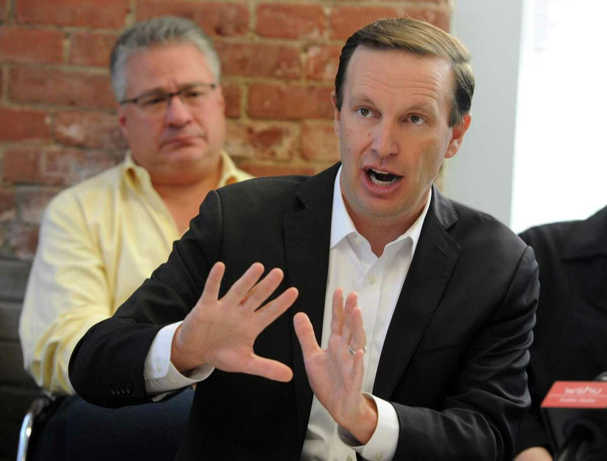 U.S. Senator Chris Murphy (D-Conn.) addresses the crowd at a roundtable discussion at the Kinsella Treatment Center in Bridgeport, Conn. on Friday, Aug. 24, 2018. Miriam Delphin-Rittmon, Department of Mental Health & Addiction Services commissioner was also at the meeting to talk about the $10 million federal grant Connecticut received to help residents with addiction and mental health disorders.
