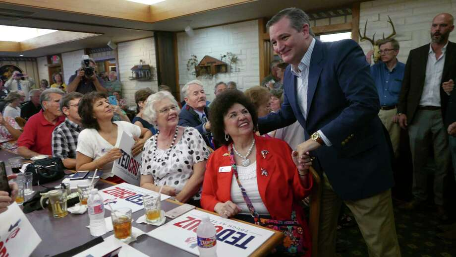 U.S. Senator Ted Cruz, R-Texas, greets Naomi Flores of the Pecan Valley Republican Womens Club at Underwood's BBQ in Brownwood, Texas, on Thursday, Aug. 9, 2018. Photo: Billy Calzada, Staff Photographer / Billy Calzada