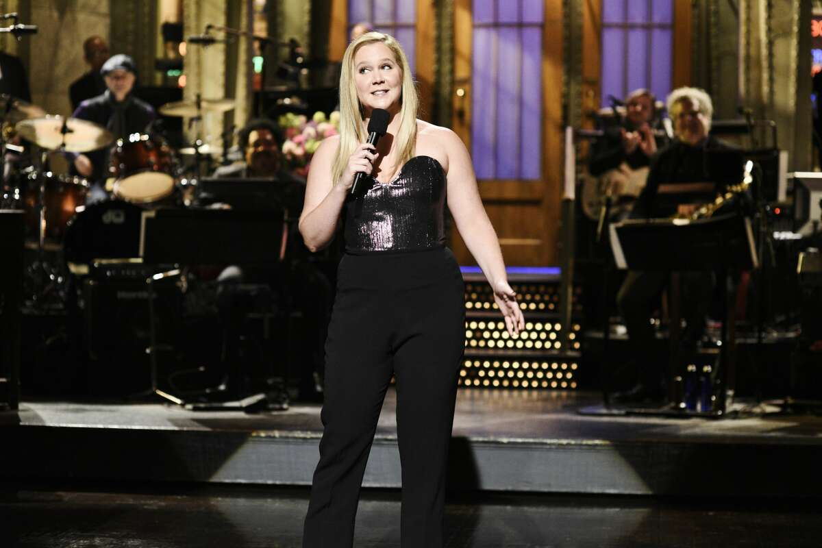 """SATURDAY NIGHT LIVE -- """"Amy Schumer"""" Episode 1745 -- Pictured: Host Amy Schumer during the Opening Monologue in Studio 8H on Saturday, May 12, 2018 -- (Photo by: Will Heath/NBC/NBCU Photo Bank via Getty Images)"""