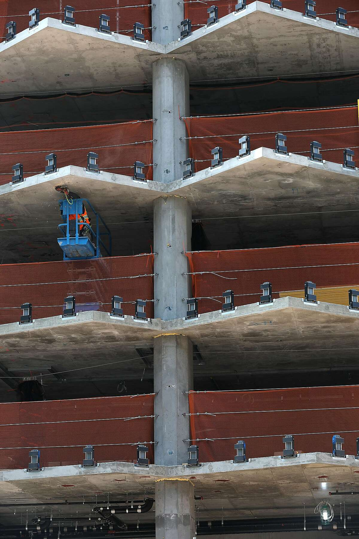 Detail of window placement at 160 Folsom St., a former parking lot near the Temporary Transbay Transit Center is where a condo tower is under constructionon Friday, Aug. 24, 2018 in San Francisco, Calif.