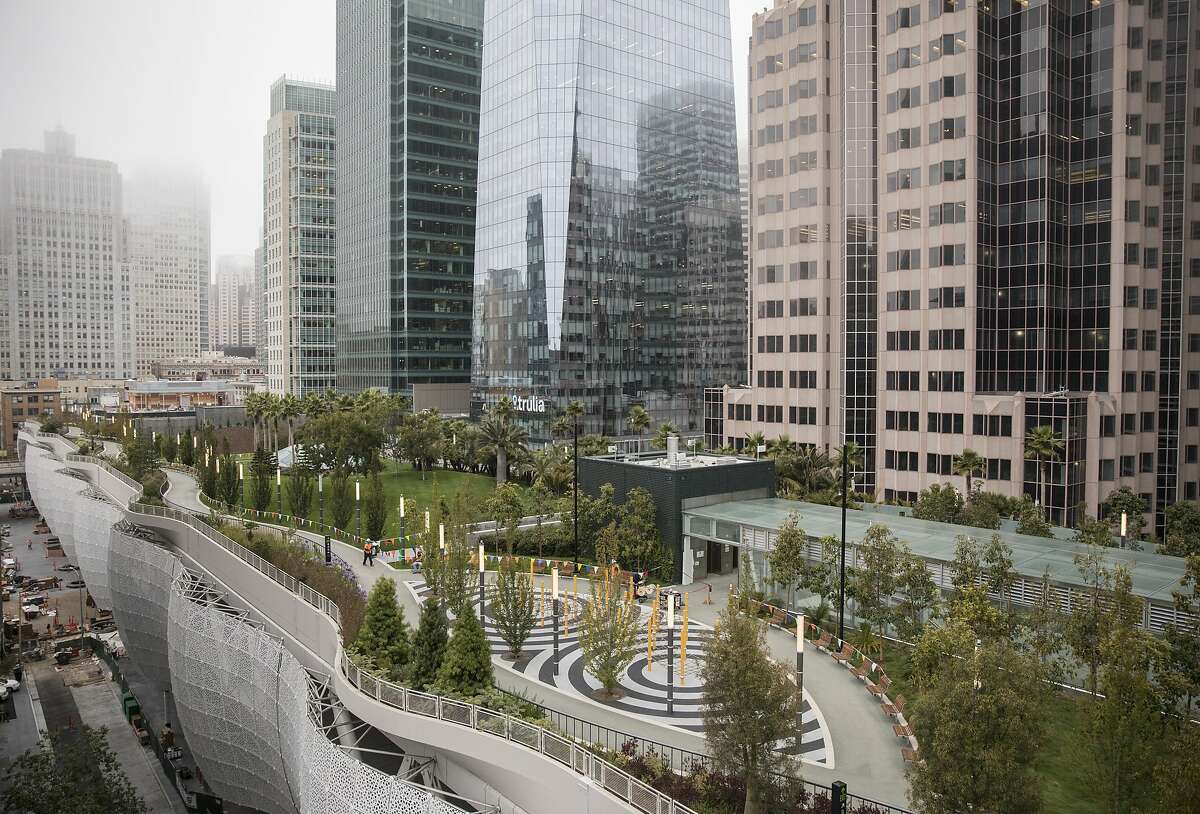 The Transbay Transit Center is seen from the BlackRock offices roof deck in San Francisco, Calif. Wednesday, Aug. 1, 2018.