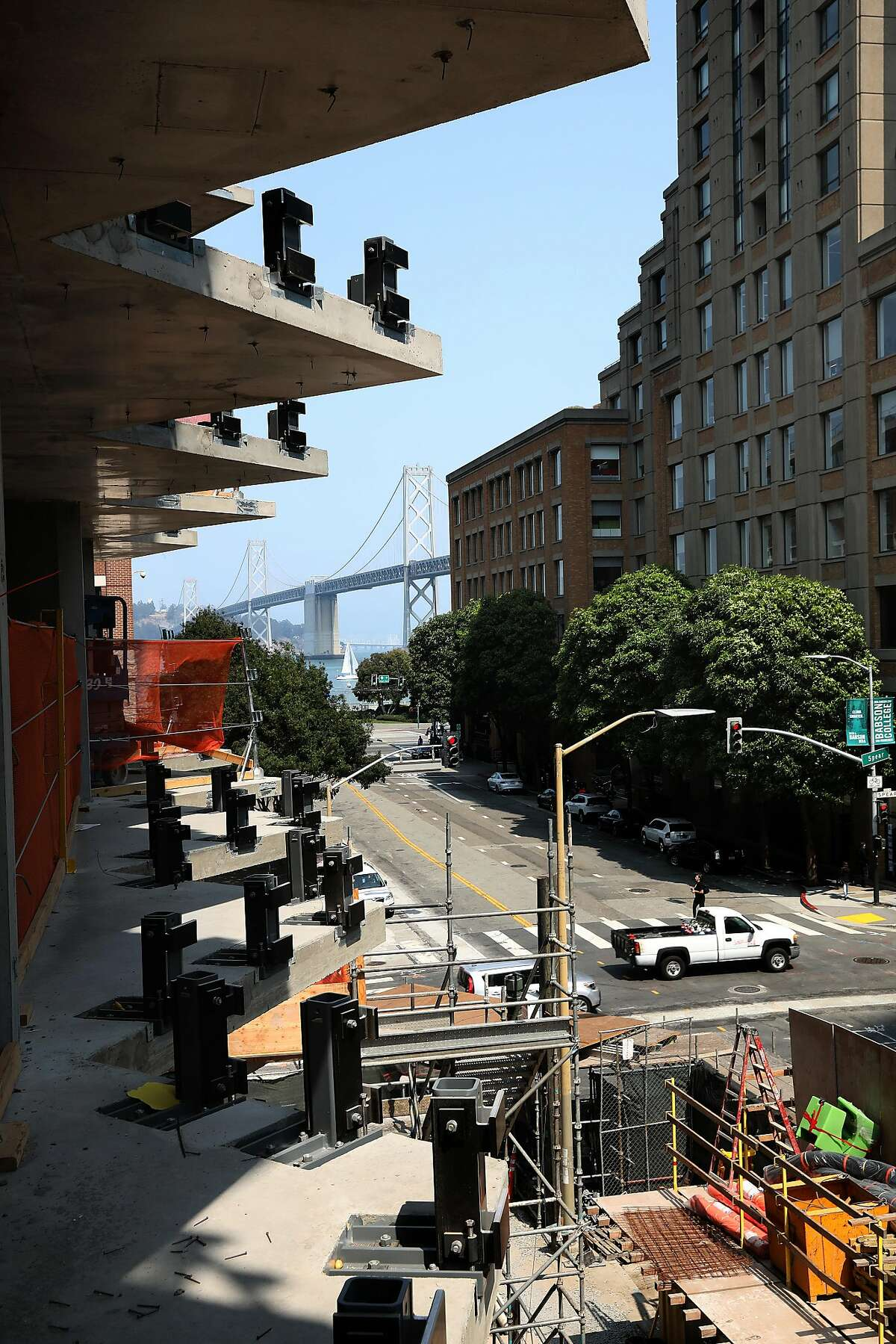 View of where windows will be placed at 160 Folsom St., a former parking lot near the Temporary Transbay Transit Center, where a condo tower is under construction on Friday, Aug. 24, 2018 in San Francisco, Calif.