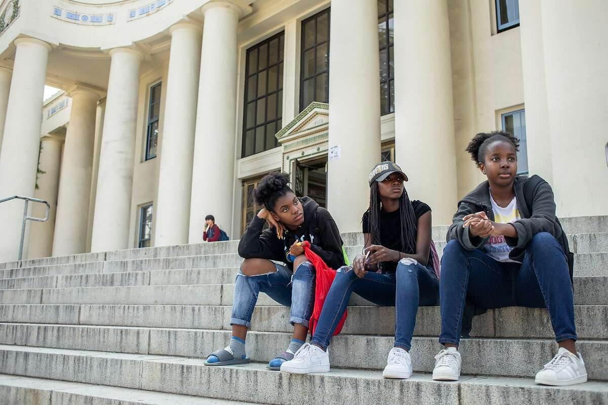 From left: Lacrosse players Hanna Cooper, Naomi Hyde and Alyssa Belisle at Oakland Technical High School, Friday, Aug. 24, 2018, in San Francisco, Calif.