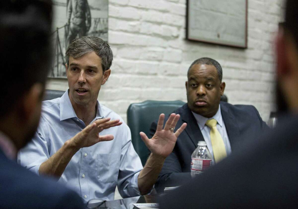 Texas Senate candidate Beto O'Rourke speaks with local lawyers and activists about overall criminal justice reform. Wednesday, Aug. 22, 2018, in Houston.
