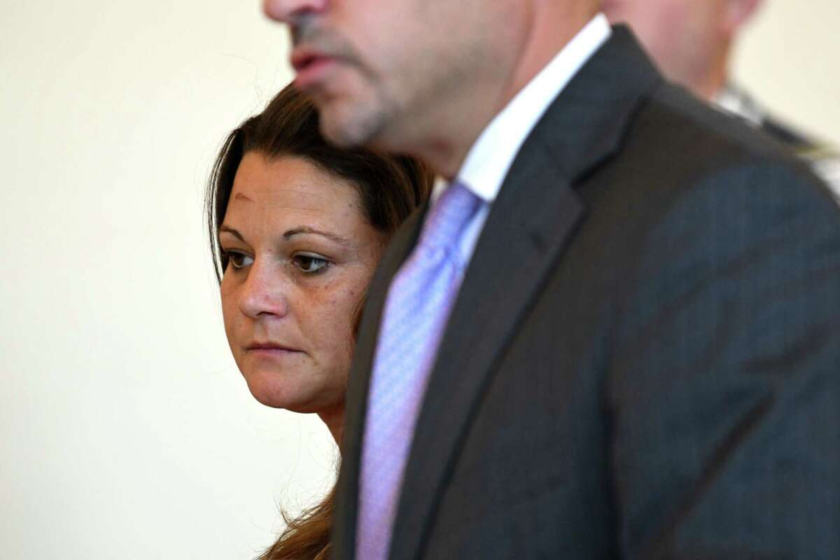 Danielle Barker-Lange, a Cohoes-based lawyer, is arraigned at Cohoes City Court on felony drug charges filed against her for allegedly selling heroin on Friday, Aug. 24, 2018, in Cohoes, N.Y. Albany County Sheriff's deputies were informed that Barker-Lange was selling heroin out of her home and law office, located at 184 Remsen St. in Cohoes. During the probe into Barker-Lange, investigators were able to buy heroin from her on multiple occasions. She pleaded not guilty. (Will Waldron/Times Union)