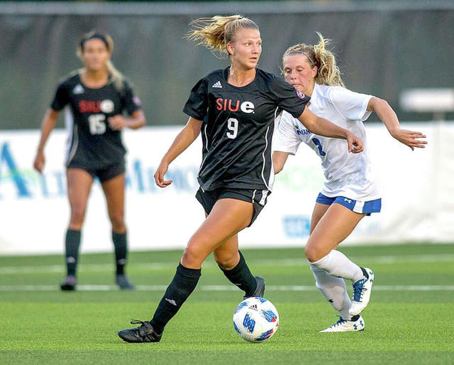 SIUE's Kayla Klipsch (9) moves the ball against Indiana State Friday night at Korte Stadium. SIUE lost 3-1. Photo: SIUE Athletics