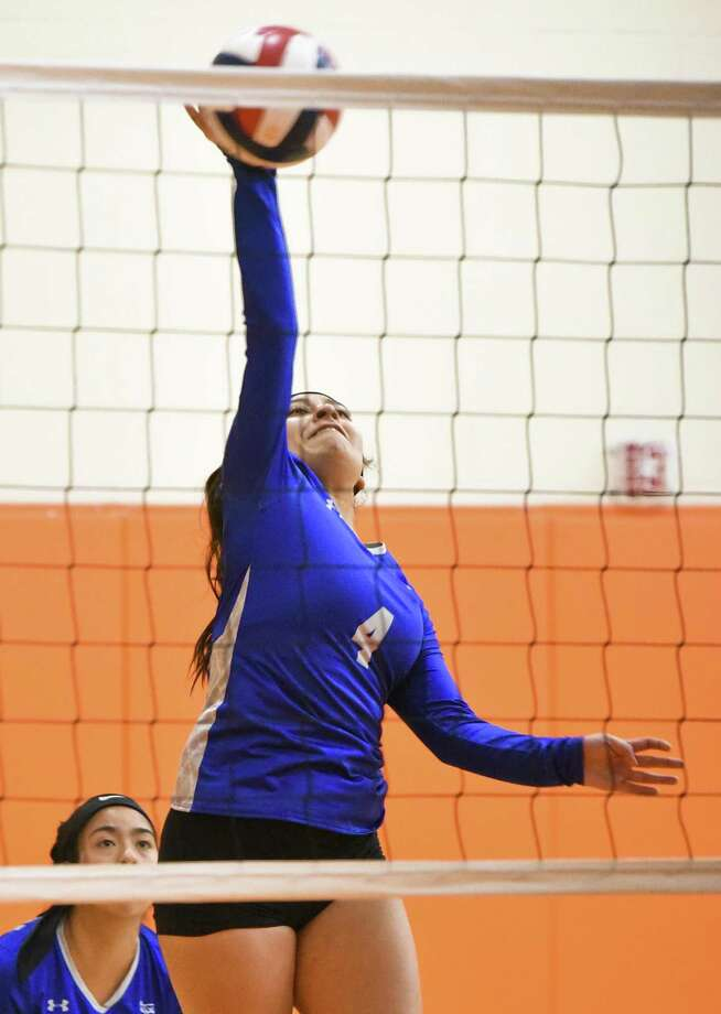 Cigarroa High School Sofia Villarreal goes for the kill hit during a game against United South High School on Friday, Aug. 24, 2018, at the United High School Freshman Campus. Photo: Danny Zaragoza /Laredo Morning Times File / Laredo Morning Times