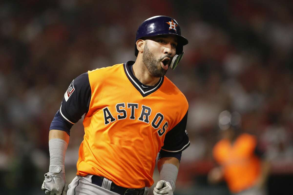Houston Astros' Marwin Gonzalez celebrates after hitting a grand slam during the fifth inning of a baseball game against the Los Angeles Angels, Friday, Aug. 24, 2018, in Anaheim, Calif. (AP Photo/Jae C. Hong)