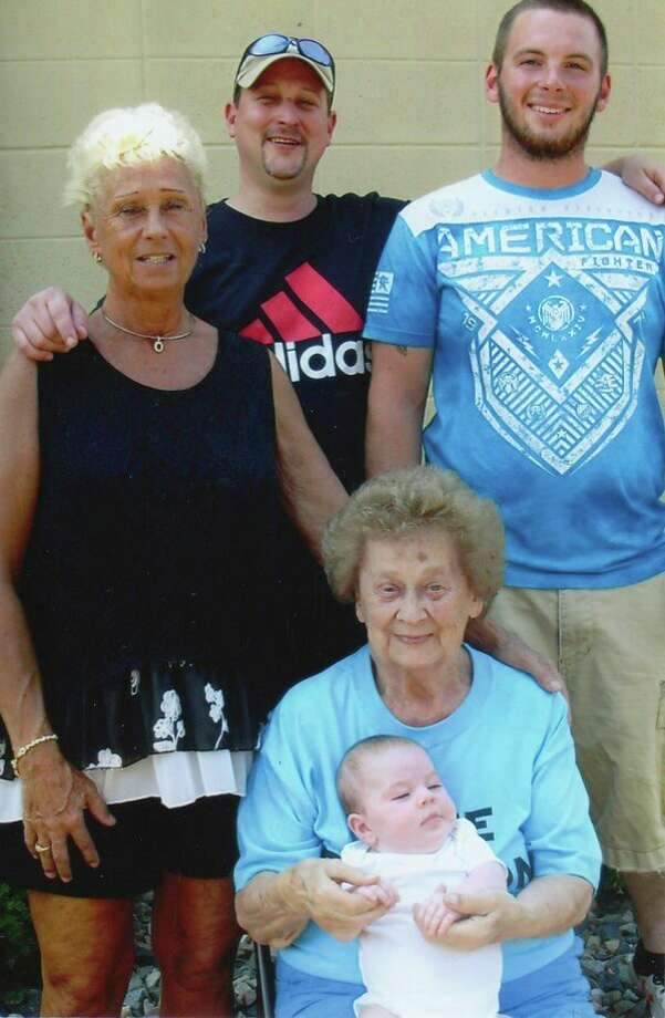 Five generations of the Young family recently gathered. Pictured are Diane Young, great-grandmother, Kurt Young, grandfather, Brent Jimpkoski, dad, Midge (Ethalene) Ritter, great-great-grandmother and Emily Mae Jimpkoski who was born May 6, 2018. (Submitted Photo)