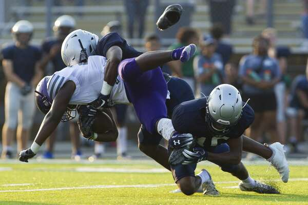Montgomery takes on College Park as part of a high school football scrimmage at Bear Stadium on Aug. 24, 2018, in Montgomery.