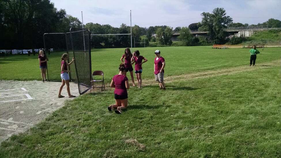 Troop 2104 Girl Scouts hosted a ribbon-cutting ceremony at their softball field in Glenville to celebrate their Silver Award achievement. The girls have spent the past 10 months renovating the Scotia-Glenville Softball League's clubhouse, concession stand and fields. Shown are Grace Beauchamp, Alexa Lotano, Maddie Cook, Arrianna Stark, Hannah King and Ashton Wicks. (Photo by Tim Blydenburgh)