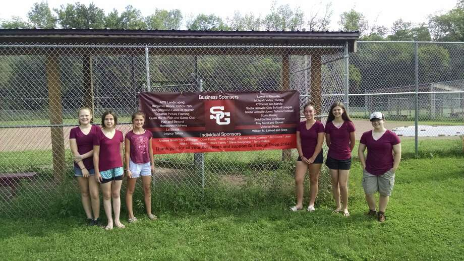Troop 2104 Girl Scouts hosted a ribbon-cutting ceremony at their  softball field in Glenville to celebrate their Silver Award achievement. The girls have spent the past 10 months renovating the Scotia-Glenville Softball League's clubhouse, concession stand and fields. From left, Grace Beauchamp, Alexa Lotano, Maddie Cook, Arrianna Stark, Hannah King and Ashton Wicks. (Photo by Tim Blydenburgh)