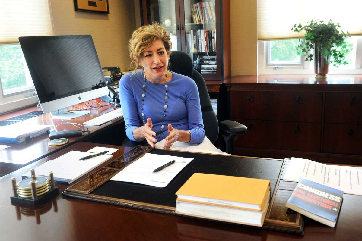 University of Connecticut President Susan Herbst speaks in her office during an interview in Storrs on Monday.