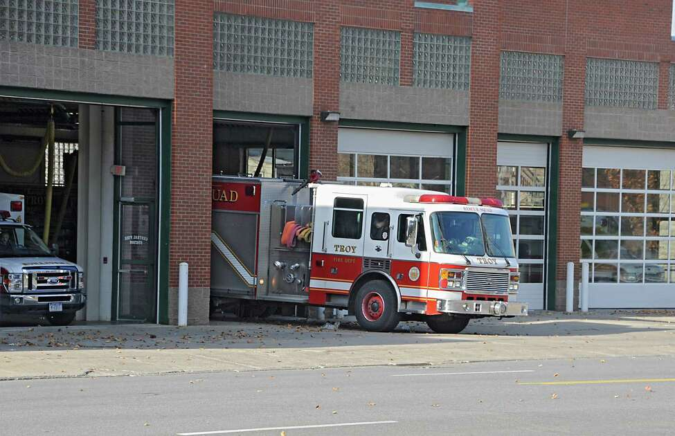 A fire truck leaves the Troy Fire Department on 6th Ave. Friday, Nov. 21, 2014 in Troy, N.Y. Mayor Lou Rosamilia is expected to recommend several changes to his budget which may include changes to the police and fire departments. (Lori Van Buren / Times Union)
