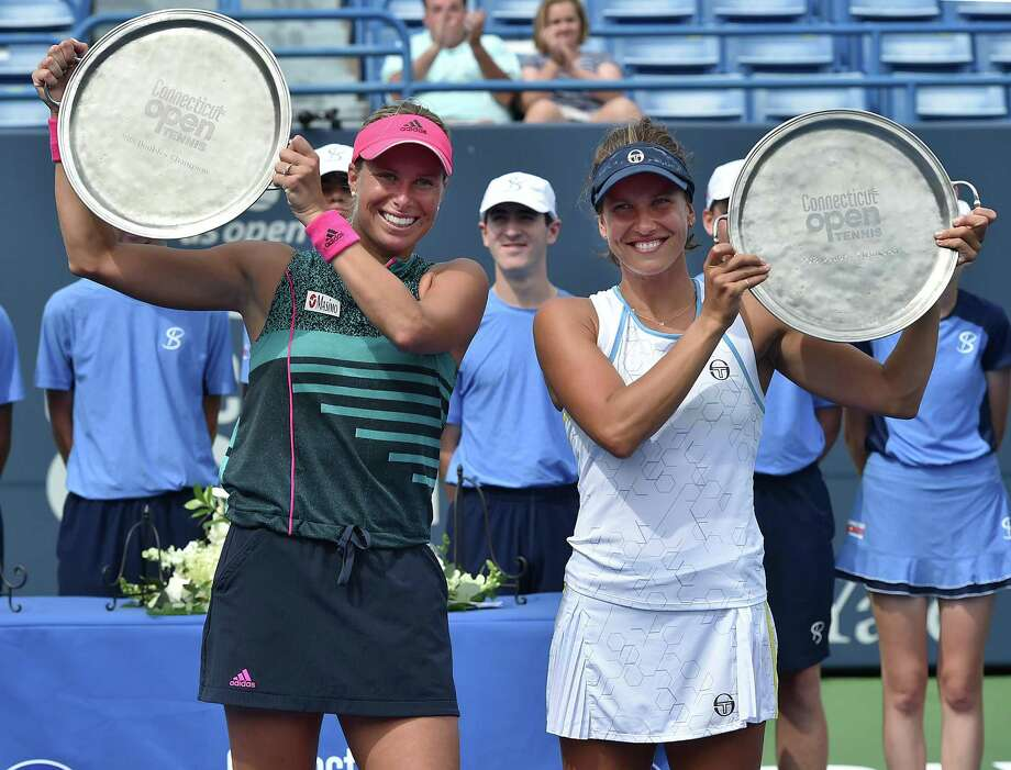 Andrea Sestini Hvalackova and Barbora Strycova celebrate their win over Su-Wei Hsieh and Laura Siegemund in the doubles championship at the Connecticut Open on Saturday. Photo: Catherine Avalone / Hearst Connecticut Media / New Haven Register