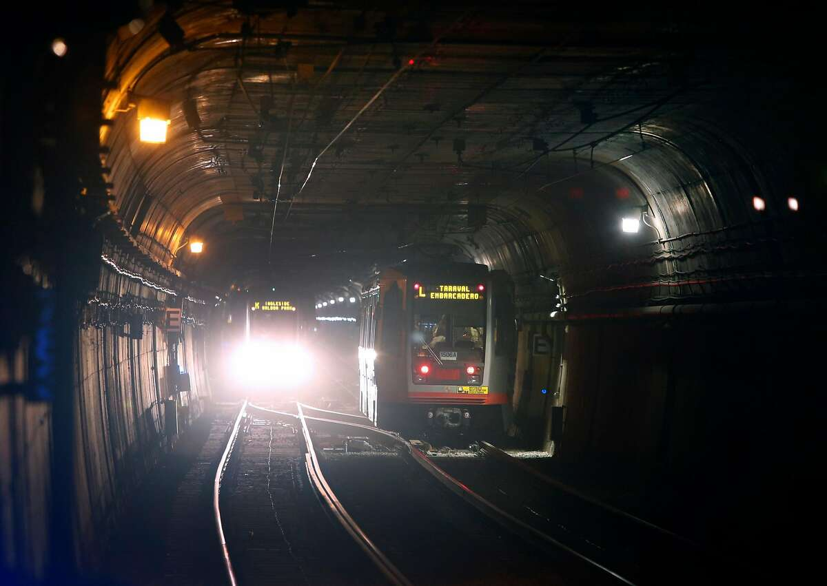 Light rail trains travel through the Twin Peaks tunnel near the Forest Hill Muni Metro station in San Francisco, Calif. on Saturday, Aug. 25, 2018. The SFMTA reopened the tunnel to light rail service Saturday following a two-month closure for an extensive restoration project.