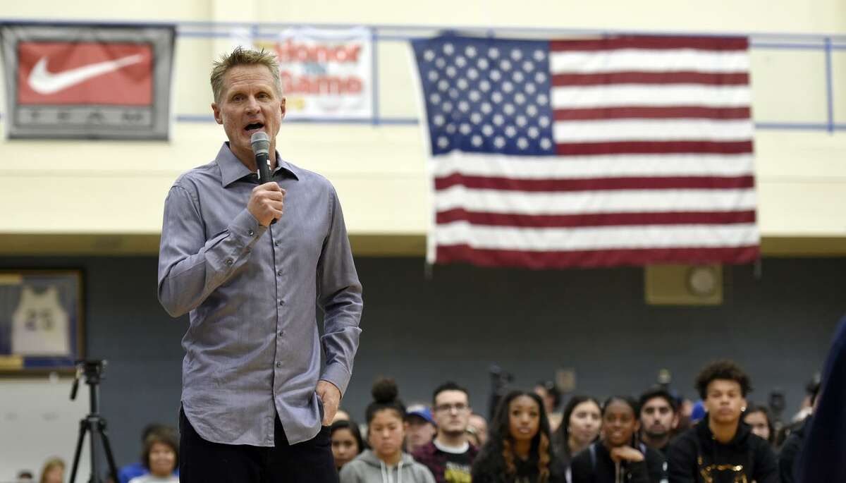 Steve Kerr speaks to high school students in Newark about gun violence in March. The Warriors' head coach has a keen interest in politics, but doesn't seem interested in public office.