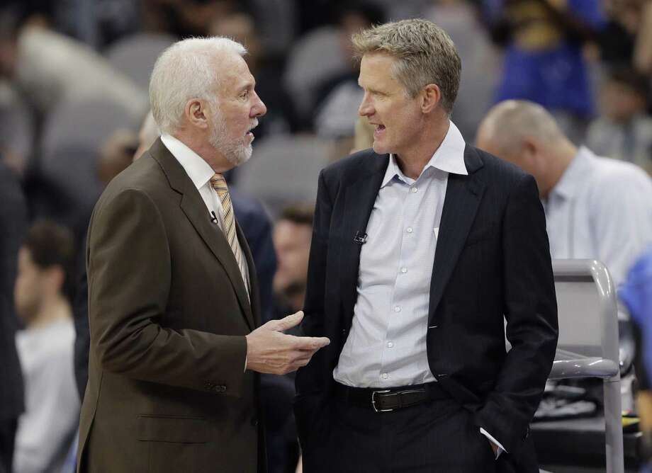 San Antonio Spurs head coach Gregg Popovich, left, and Golden State Warriors head coach Steve Kerr, right, visit before an NBA basketball game, Thursday, Nov. 2, 2017, in San Antonio. (AP Photo/Eric Gay) Photo: Eric Gay / AP / ONLINE_YES