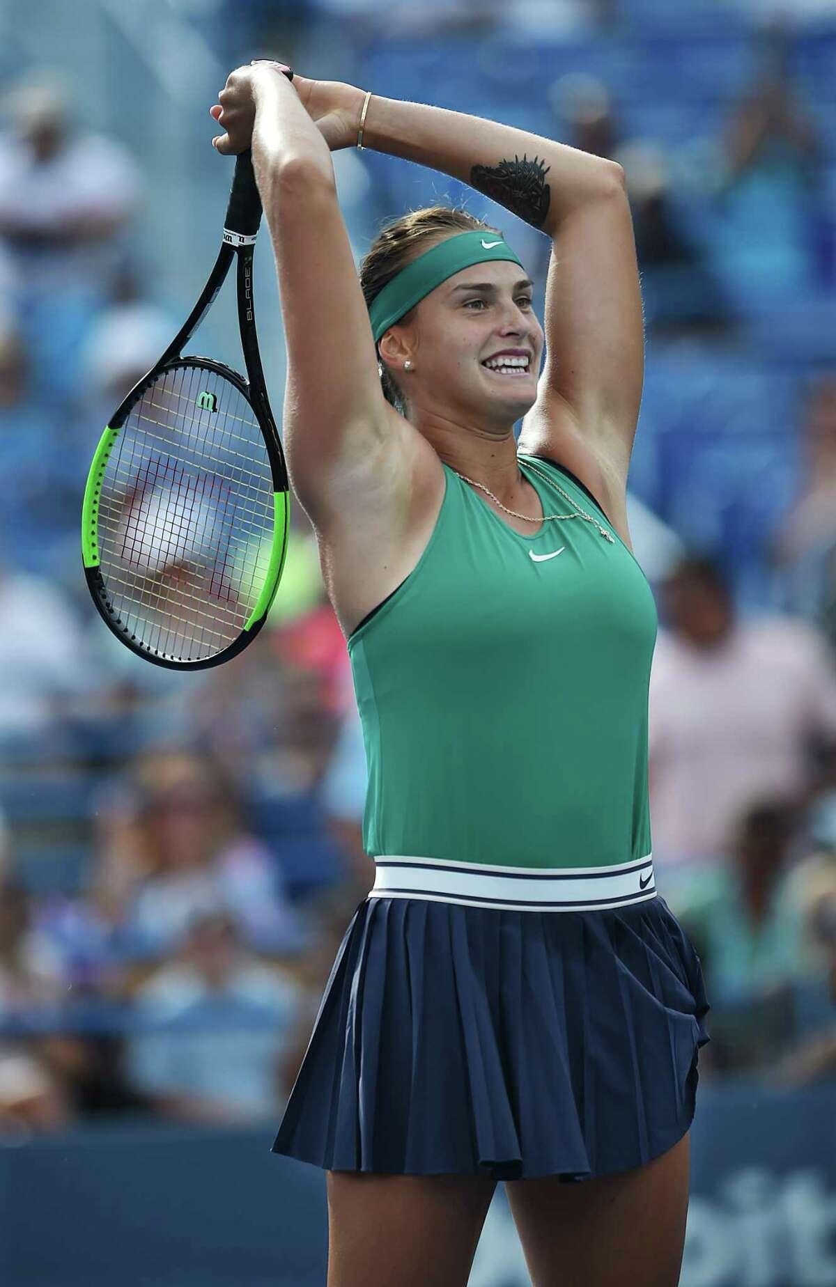 Aryna Sabalenka celebrates her win over Carla Suarez Navarro in the Connecticut Open final on Saturday.